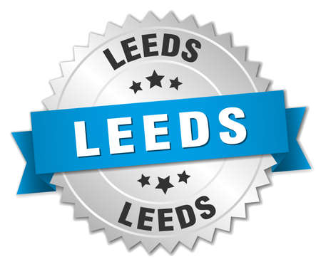 leeds: Leeds round silver badge with blue ribbon