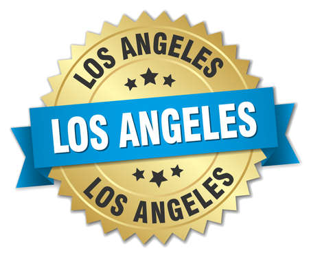 los angeles: Los Angeles round golden badge with blue ribbon Illustration