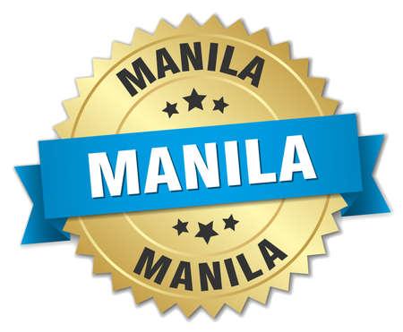 manila: Manila round golden badge with blue ribbon