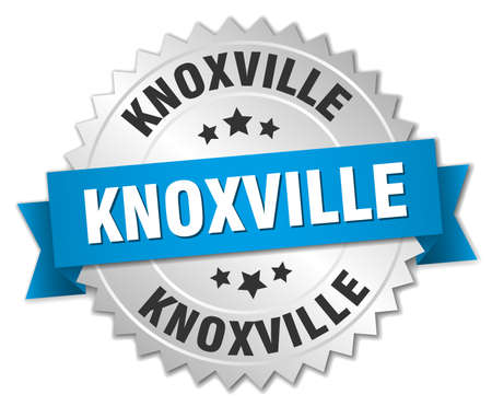 silver ribbon: Knoxville round silver badge with blue ribbon Illustration
