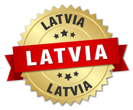 latvia: Latvia round golden badge with red ribbon