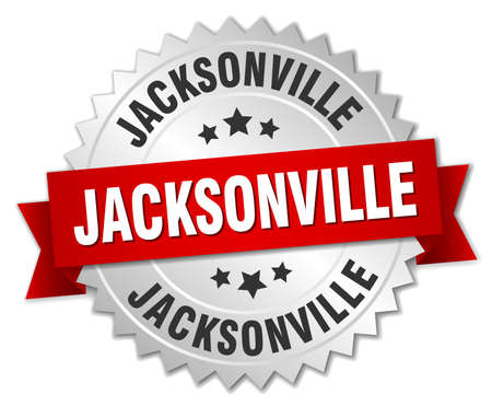 jacksonville: Jacksonville  round silver badge with red ribbon