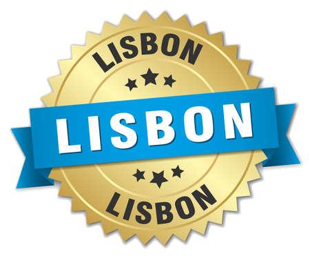 lisbon: Lisbon round golden badge with blue ribbon Illustration