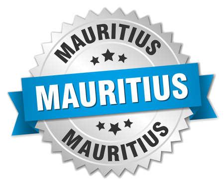 silvered: Mauritius round silver badge with blue ribbon
