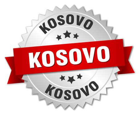 kosovo: Kosovo  round silver badge with red ribbon