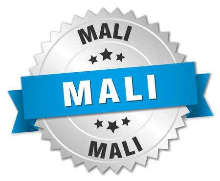 mali: Mali round silver badge with blue ribbon