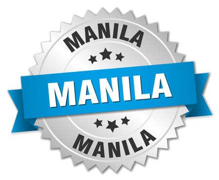 manila: Manila round silver badge with blue ribbon