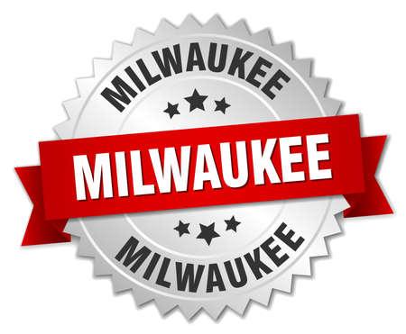 milwaukee: Milwaukee  round silver badge with red ribbon