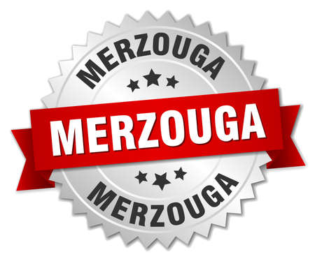 silver ribbon: Merzouga round silver badge with red ribbon