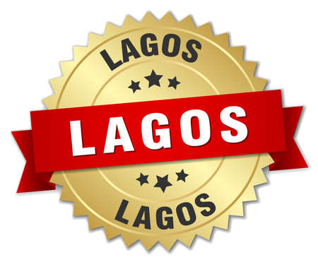 lagos: Lagos round golden badge with red ribbon