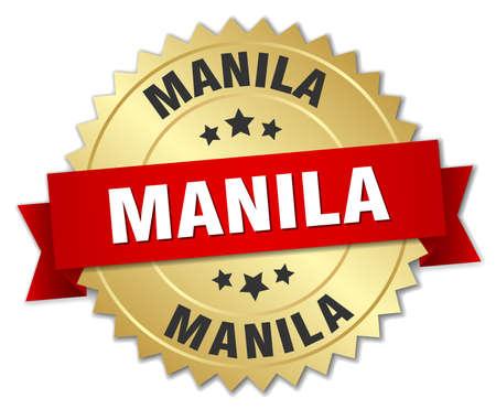 manila: Manila round golden badge with red ribbon