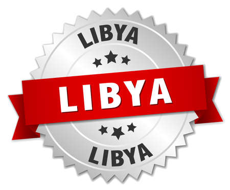 libya: Libya  round silver badge with red ribbon Illustration