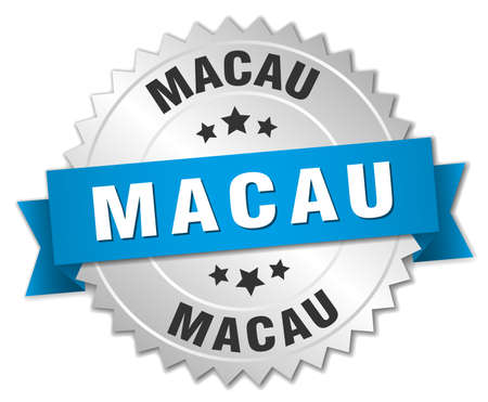 macau: Macau round silver badge with blue ribbon Illustration