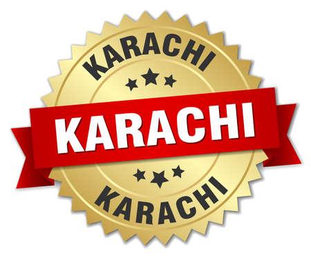 karachi: Karachi round golden badge with red ribbon