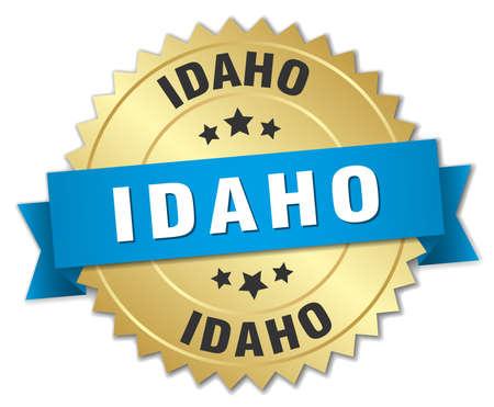 idaho: Idaho round golden badge with blue ribbon Illustration