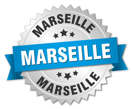 marseille: Marseille round silver badge with blue ribbon Illustration