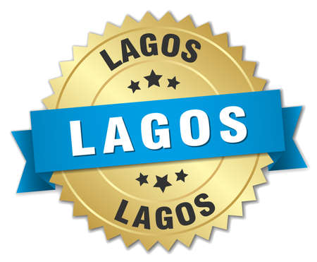 lagos: Lagos round golden badge with blue ribbon