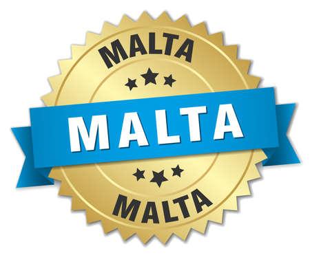 Malta round golden badge with blue ribbon