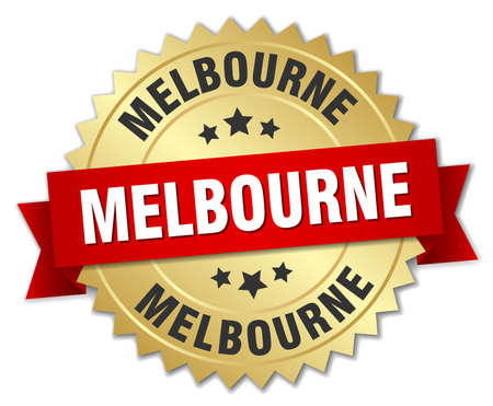 melbourne: Melbourne round golden badge with red ribbon