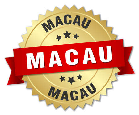 macau: Macau round golden badge with red ribbon
