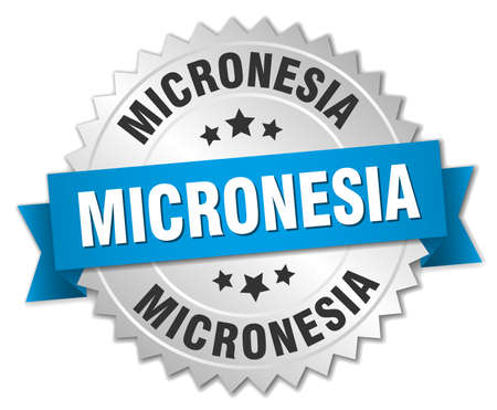 micronesia: Micronesia round silver badge with blue ribbon