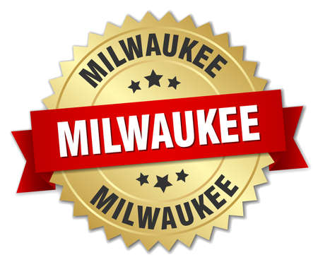 milwaukee: Milwaukee round golden badge with red ribbon