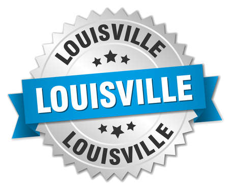 louisville: Louisville round silver badge with blue ribbon