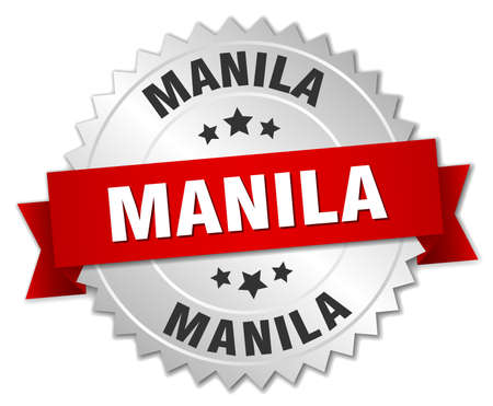 manila: Manila  round silver badge with red ribbon