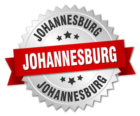 Johannesburg  round silver badge with red ribbon