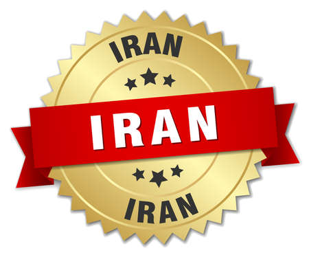 iran: Iran round golden badge with red ribbon