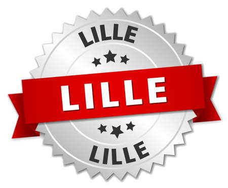 lille: Lille  round silver badge with red ribbon
