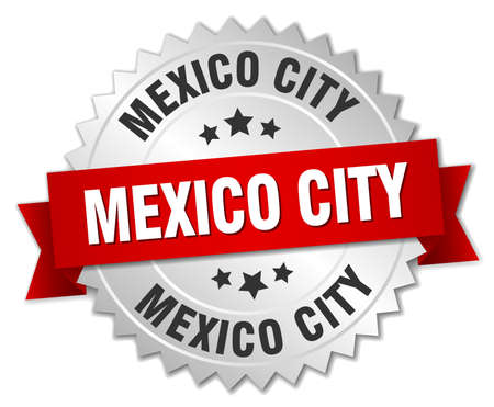 mexico city: Mexico City round silver badge with red ribbon