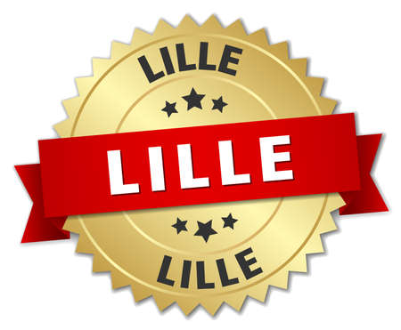 lille: Lille round golden badge with red ribbon Illustration