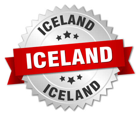 silvered: Iceland round silver badge with red ribbon