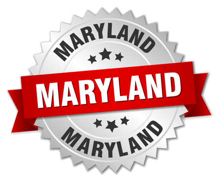 maryland: Maryland round silver badge with red ribbon Illustration