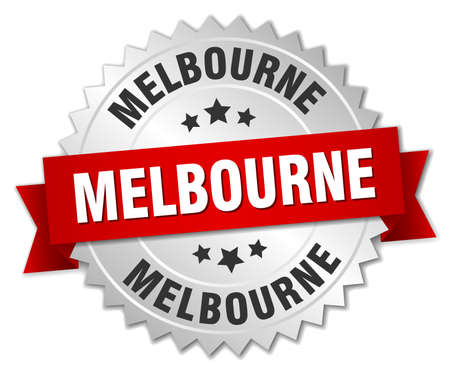 melbourne: Melbourne round silver badge with red ribbon