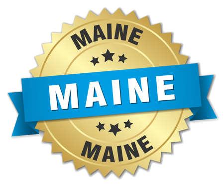 maine: Maine round golden badge with blue ribbon Illustration