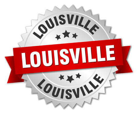 louisville: Louisville  round silver badge with red ribbon Illustration