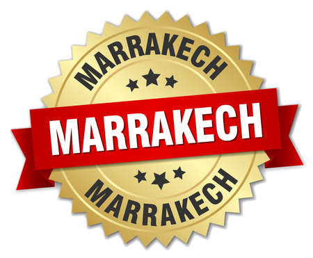 marrakech: Marrakech round golden badge with red ribbon Illustration