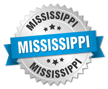 silvered: Mississippi round silver badge with blue ribbon