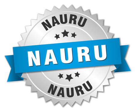 nauru: Nauru round silver badge with blue ribbon
