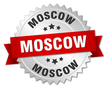moscow: Moscow  round silver badge with red ribbon