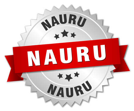 nauru: Nauru  round silver badge with red ribbon