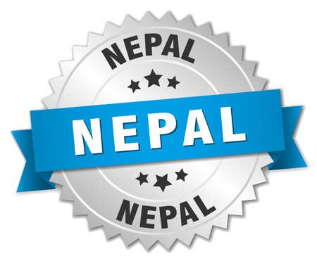 nepal: Nepal round silver badge with blue ribbon