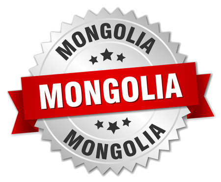 silver ribbon: Mongolia  round silver badge with red ribbon