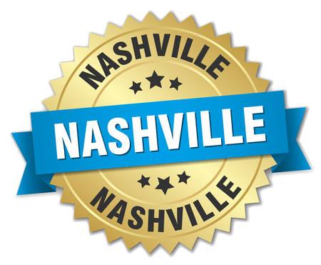 nashville: Nashville round golden badge with blue ribbon