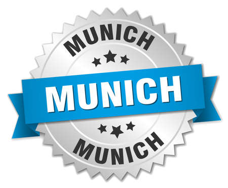 silver ribbon: Munich round silver badge with blue ribbon Illustration