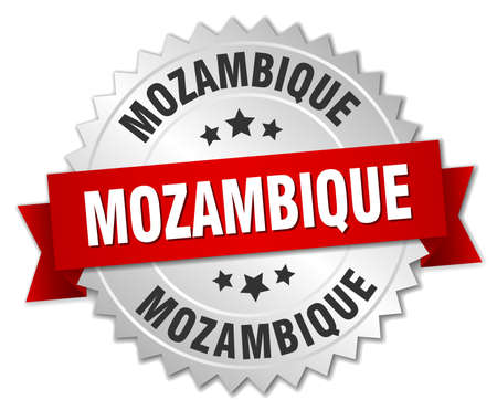 silver ribbon: Mozambique round silver badge with red ribbon Illustration