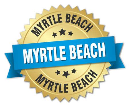 myrtle beach: Myrtle Beach round golden badge with blue ribbon