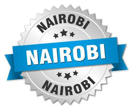 nairobi: Nairobi round silver badge with blue ribbon